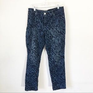 Chicos animal print denim velvet skinny jeans